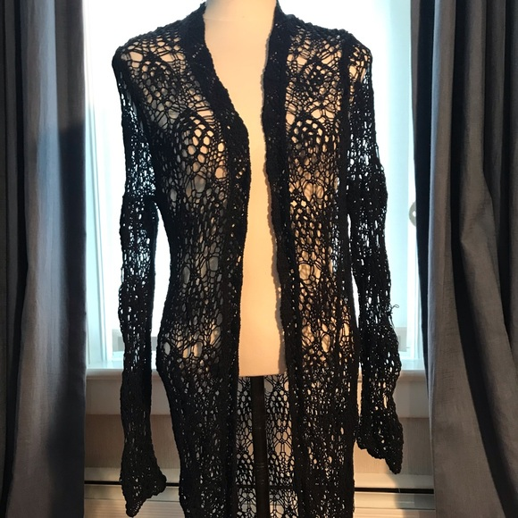 Forever 21 Sweaters - Forever 21 black lace knee length cardigan duster